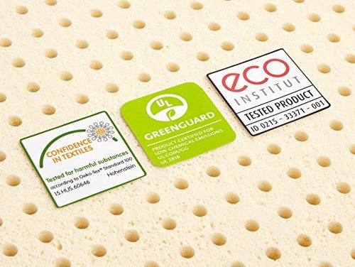 The Sleep On Latex - Pure Green mattress is certified by Oeko-Tex, Greenguard Gold and Eco Institut