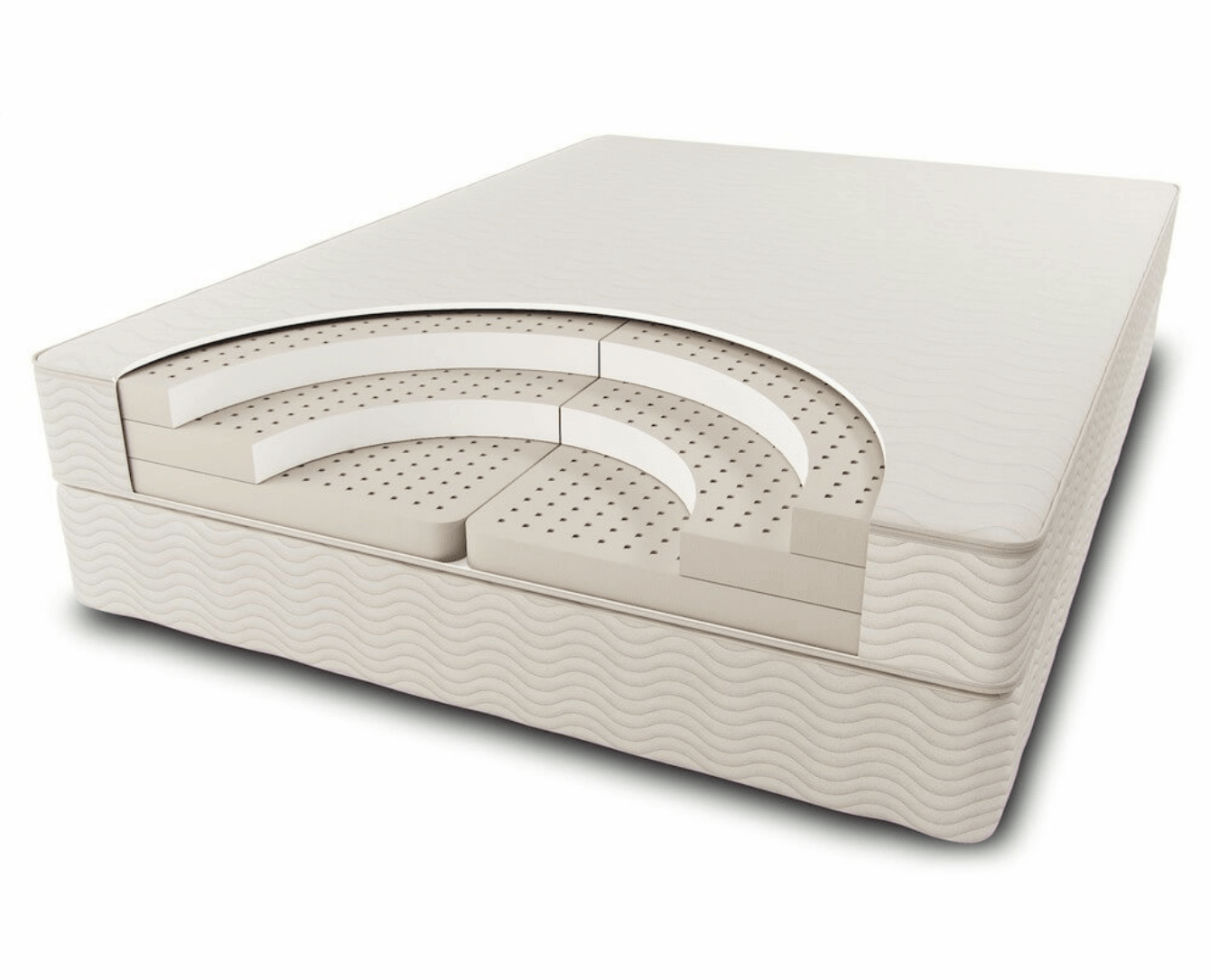 A cross cut visual representation of the Sleep Ez Natural Mattress which shows three layers of latex foam stacked on top of each other which may be split into different firmneses for the two sides of the mattress