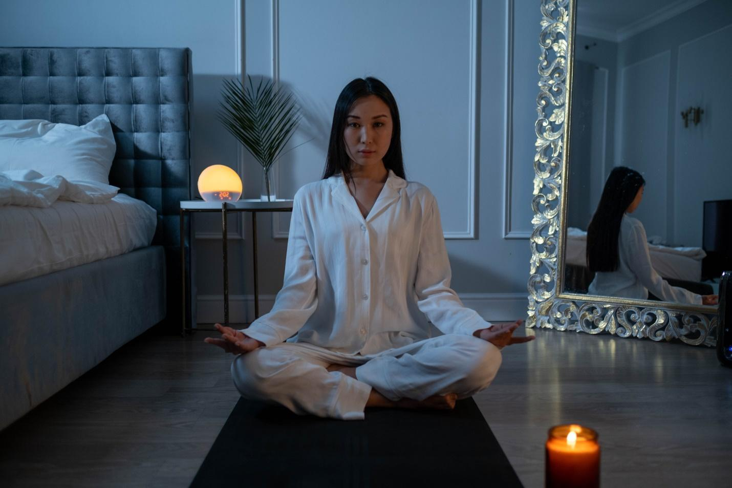 Woman practicing relaxation techniques