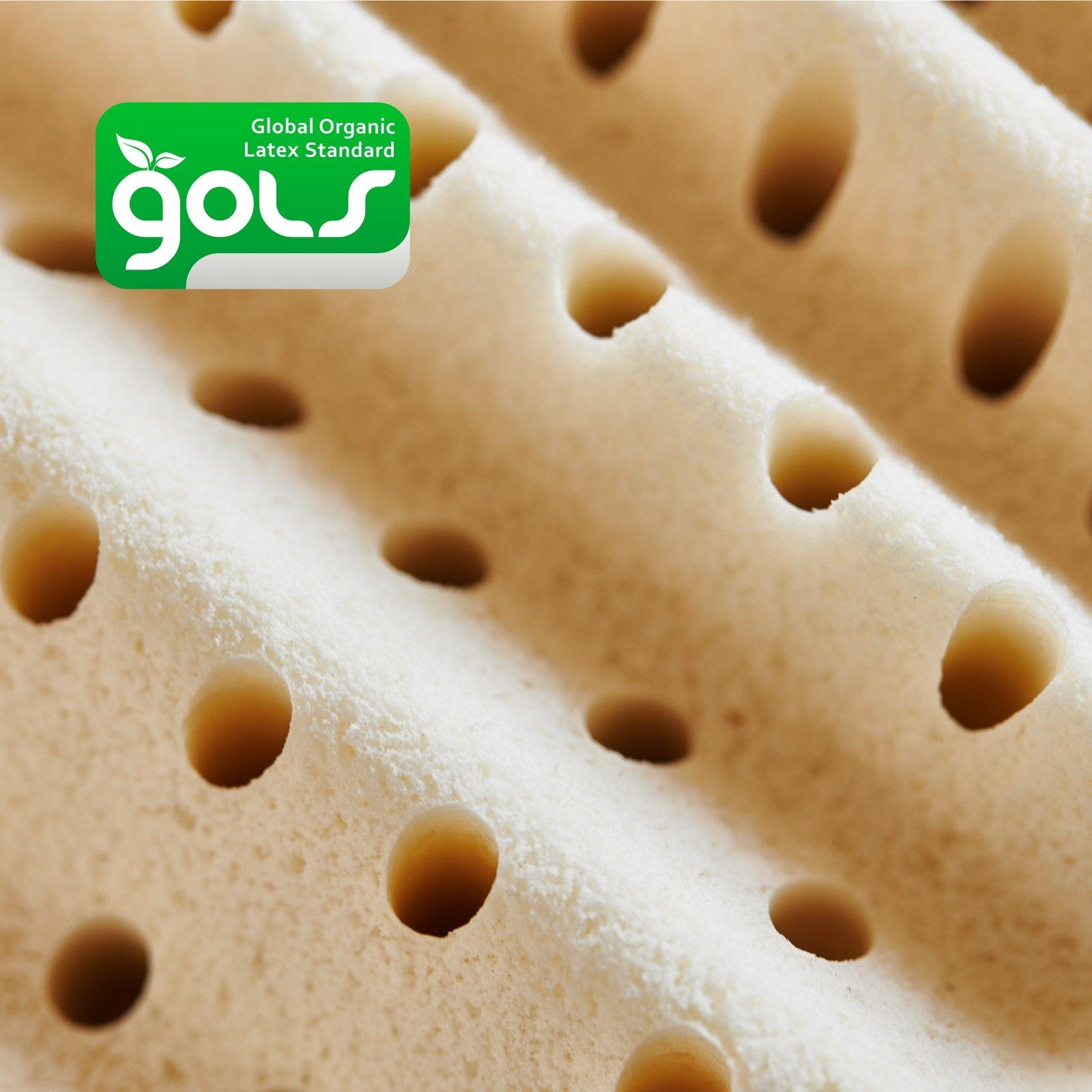 The 4-inch Dunlop latex layer is GOLS certified.